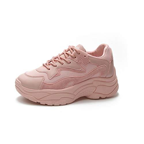 Mujeres Chunky Sneakers Primavera Verano Moda con Cordones Zapatillas Damas Tacón Alto Plataformas Plataformas Transpirable Zapatillas de Deporte Blancas