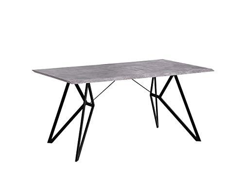 Beliani Esstisch Betonoptik/schwarz 160 x 90 cm MDF-Platte Buscot