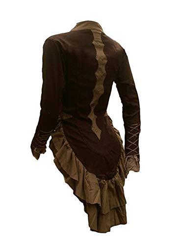Damen Viktorianische Gothik Jacke Reitjacke Lange Ärmel Khaki 2XL