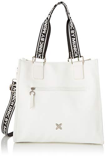 Munich Shopping Tulle, Shopper para Mujer, Blanco (White), 17x31x33 cm (W x H x L)