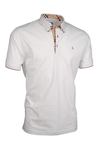 Premium-Poloshirt von Giorgio Capone, einzigartiger Hemdkragen, Jersey-Stoff 100% Baumwolle, weiß, Regular Fit (L)