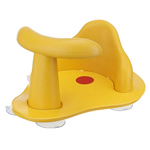 KINGSO Baby Bath Seat with Non-Slip Soft Mat Portable Baby Bathtub Seat with Hot Water Indicator, Backrest & Suction Cups for Stability, Infant Bath Seat for 6-12 Months, Yellow