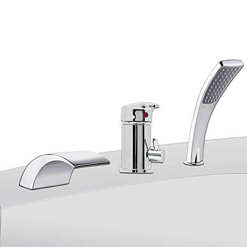 Melko Wannenrandarmatur 3-Loch Badewannen Armaturen Set Chrom Badewannenarmatur Einhebelmischer mit Handbrause, Brausehalter