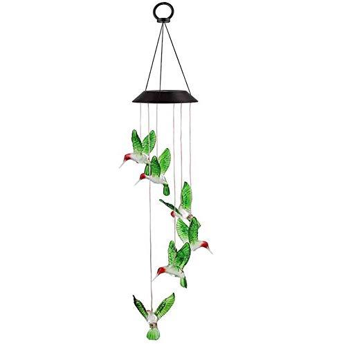 MZSM Windspiel-Solarlicht Led 6 Blaue Vogel-Windspiel-Lichter mit Farbwechsel, wasserdichte hängende Solar-Gartenlampe für Zuhause, dekoratives Windglockenlicht für den Außenbereich mit Haken