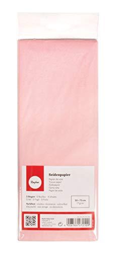Rayher 67270258 Seidenpapier, rosé, 50x75cm, 5 Bogen, 17g/m², lichtecht, farbfest, leicht transparentes, dünnes Papier, Geschenkpapier, Papier zum Basteln
