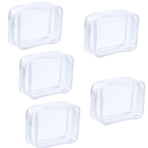 5 Piezas PVC Bolsa Portátil de Maquillaje, Bolsa Cosméticos Transparente, Impermeable Claro Bolsa de Aseo con Cremallera para Vacación Baño y Almacenamiento