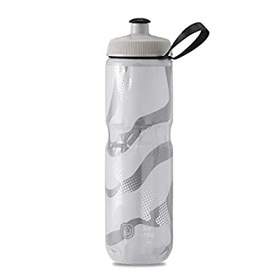Polar Bottle Sport Insulated Water Bottle - BPA-Free, Sport & Bike Squeeze Bottle with Handle (Contender - White & Silver, 24 oz)