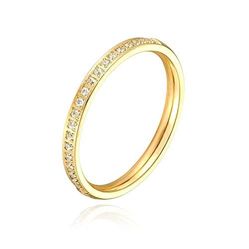 Joyería de una sola fila de acero inoxidable anillo de diamante joyería de oro rosa joyería de acero inoxidable, 8, zinc,