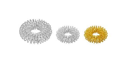 3er Set Fingermassageringe Energie-Ring Massage-Ring Power-Ring Yin und Yang Massage, 1x Silber groß, 1x Silber klein, 1x Gold klein