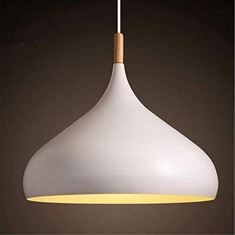 HBLJ Moderne weie Metall Pendelleuchte Schatten Kronleuchter Beleuchtung E27 Sockel mit Holz [Energieklasse A +]