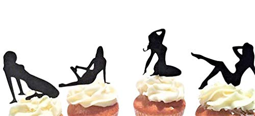 Various Designs of Pole Dancers/High Heels/Corset/Glasses/Bride & Groom Cupcake Toppers for Birthday/Bridal Shower/Wedding/New Years Events/Party/Bachelor Party sets of 12… (Sexy Pin Up Silhouettes)