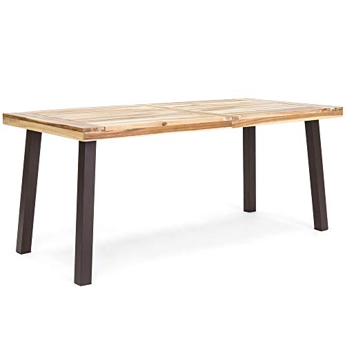 Best Choice Products 6-Person Indoor Outdoor Rustic Acacia Wood Picnic Dining Table w/Metal Finish Legs, Brown