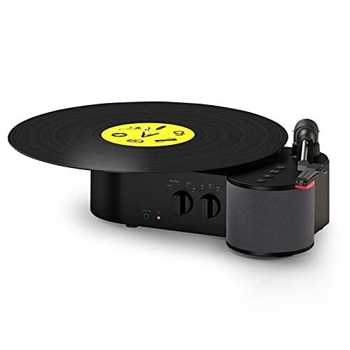 Giradischi Vinili Compatto con Casse Bluetooth Rimovibile Portatile, Lettore Vinile Gira Dischi 3 Velocità con Altoparlante Incorporato, Uscita RCA
