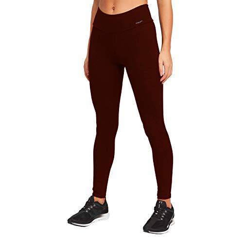 MAGIC SELECT Legging Largo básico de algodón, Malla elástica de Cintura Alta para Mujer (Rojo, L)