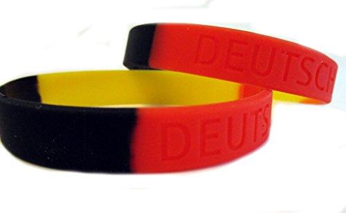Twist4 Silikon Armband Deutschland - schwarz rot gelb - als Fanartikel, Fußball, Deko, Party, Länder