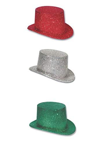 Cappello Cilindro Glitter 6 Pz Verde Rosso Argento Festa Party Accessori Costumi