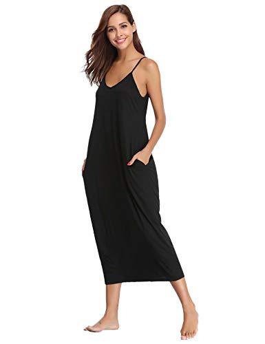 Aiboria Damen Nachthemd Einfarbige Sommer Negligee Lose Lang Baumwolle Langen Rock Schlanke Nachtwäsche Sleepwear Frauen V-Ausschnitt