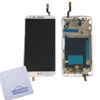 Group Vertical Replacement Complete Frame LCD Touch Digitizer Screen Assembly Compatible with LG G2 (White) (D800, D801. LS980) (GV+ Performance)