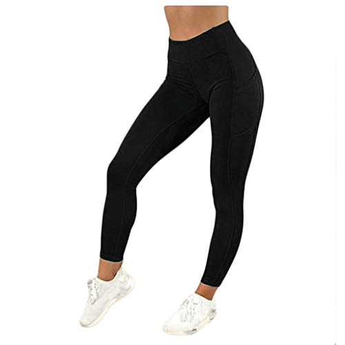 Leggings Pants Women Solid Pocket High-Waist Hip Stretch Underpants Running Fitness Yoga (XL,Black)