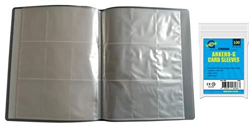 Arkero-G® Leere Sammelmappe mit 12 Seiten + 100 Kartenhüllen - 9-Pocket Tauschalbum / Sammelalbum ideal für 216 Karten & Bilder
