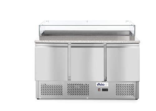 HENDI Pizzatisch, Kühltisch, Dreitürig, Umlufkühlung, max -2 bis 8°C, Inklusive 3 Fachböden, je bis 15kg belastbar (bei gleichmäßiger Verteilung), 380L, 230V, 310W, 1365x700x(H)1120mm, Edelstahl