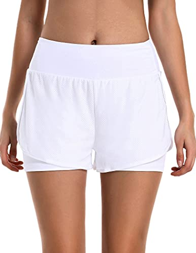 COOrun Running Yoga Shorts for Women - Activewear Workout Exercise Athletic Jogging Shorts 2-in-1 White M