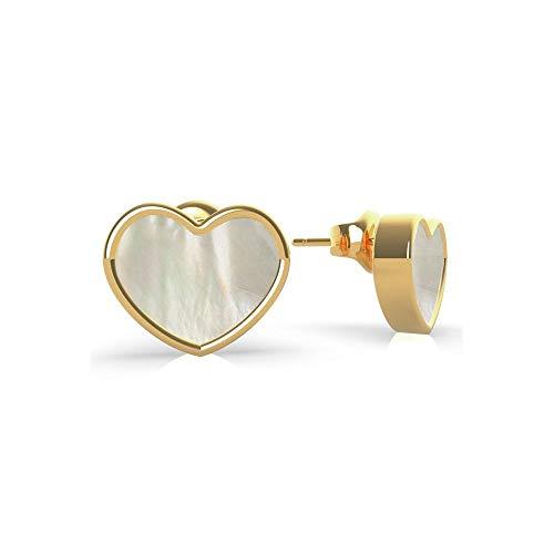Guess Jewellery Regalo de mar Oro Madre de Perla Blanco Corazón Pendientes UBE79019