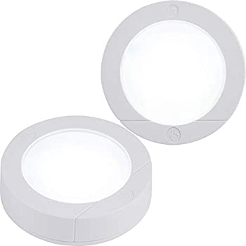 GE Wireless Battery Operated 20 Lumens Touch Activated On/Off Bright White Ideal for Closets Cabinets Attic Garage and More 25434 2 Pack LED Puck Lights 2 Count