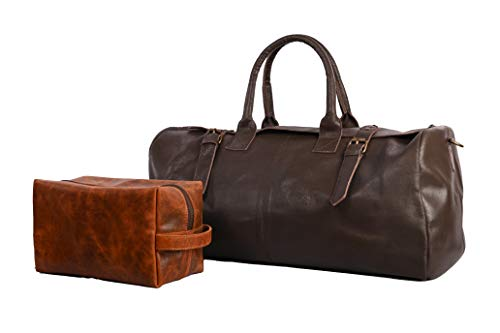 22 Inch Genuine Leather Brown Duffel Bags for Men perfect Mens Weekender Travel Bag with Leather Toiletry Bag Included