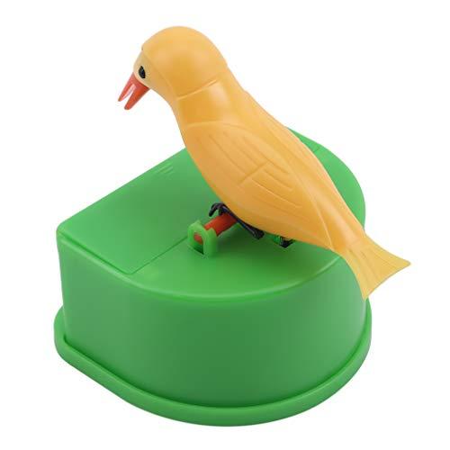 CAVIVIUK Zahnstocher Spender Vogel Zahnstocher Pinzette Lustige tragbare Kunststoffhalter Creative Bird Automatic Wooden Box,Gelbgrün