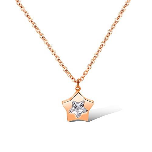 TTbaoz Collar Delicado de Acero de Titanio, Estrella de Cinco Puntas, Color Oro Rosa, Gargantilla de circonita cúbica para Mujer, Collares-Rose_Gold