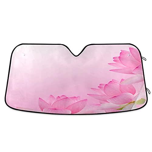Parasol para parabrisas de coche, diseño de flor de lirio rosa, bloquea el parasol plegable para mantener tu vehículo fresco, se adapta a parabrisas de la mayoría de tamaños