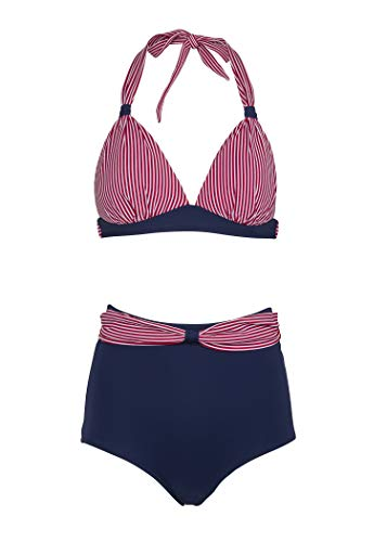 Maritimer Sailor Matrosen Damen Pinup Bikini mit hoher Taille (2-TLG. Set) – Gr. S