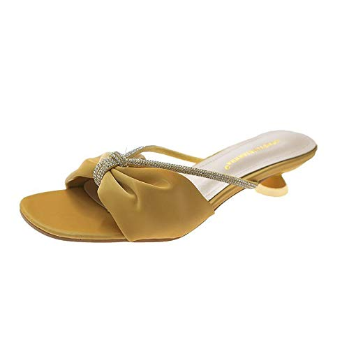 lxylllzs Women, Chanclas para Mujer,Use Zapatillas de Pajarita afuera, Chanclas de Playa-Amarillo_36,Playa Piscina Comodas Sandalias,