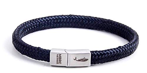 MBRC the ocean Robustes Armband im maritimen Look - Surferseil - Gewebearmband aus 100% recyceltem Kunststoff - Edelstahl - Nautische Parakord-Schnur - Herren & Damen - Langlebig (Black, 20)