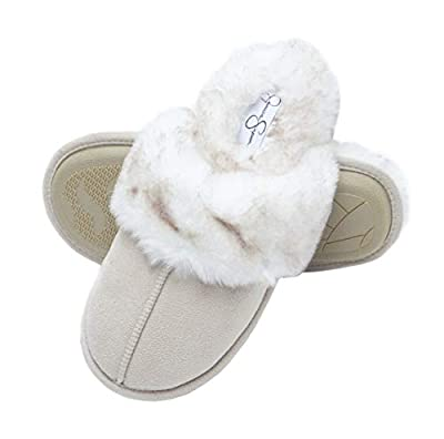 Jessica Simpson Comfy Faux Fur Womens House Slipper Scuff Memory Foam Slip On Anti-Skid Sole (Size Small, Ivory)