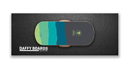 DAFFY BOARDS improve your skills. Balance Board Classic Set mit Korkrolle und Bodenschutz Outdoormatte (Stripe Black)