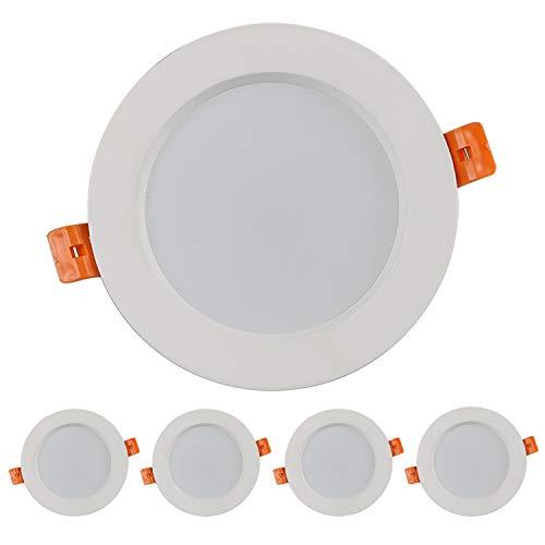 Foco Empotrable Led Techo,7W,Blanco Cálido 3000K, Regulable,550 Lumens,IP44,led Luz de Techo para Hogar, Oficina, Iluminación Comercia, 5 piezas