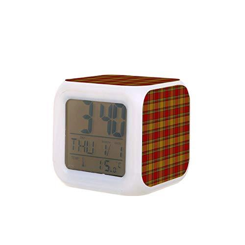 Clan Scrymgeour Tartan LED Digital despertador calendario luz nocturna colorido dormitorio reloj escritorio funciona con pilas
