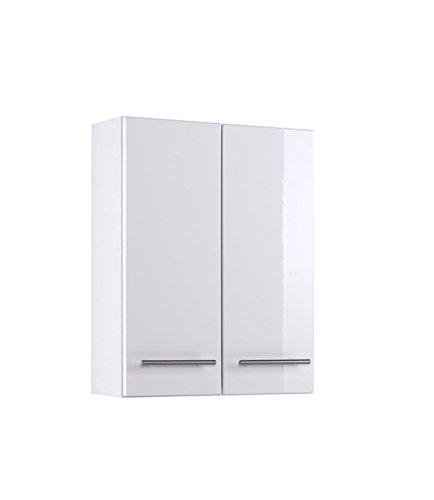 lifestyle4living Badezimmerschrank in Weiß, Hochglanz, breit | Hängeschrank mit 2 Türen und 2 Einlegeböden