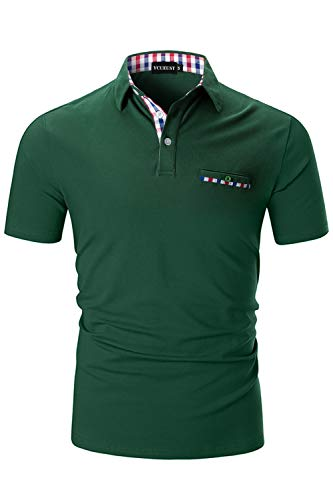 YCUEUST Cotone Polo Uomo Lattice Manica Corta Basic Tennis Golf T-Shirt Verde L