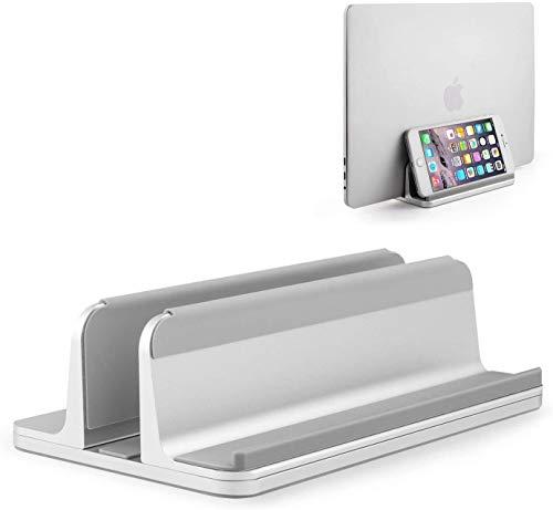 最新版ノートパソコン スタンド アルミ製 縦置き 収納 一台三役 PCスタンド&タブレット スタンド&スマホスタンド パソコンホルダー ノート 幅調節可能 MacBook/iPad/iphone/フォルダー/本/PC/タブレット等あらゆるノートパソコンに対応します