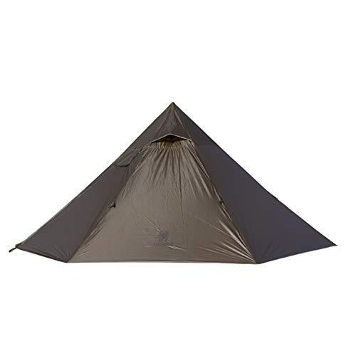 OneTigris| Black Orca Iron Wall Kaminzelt 7-Sided 2-Kammer Single Tipi Zelt für Trekking Camping Outdoor (Coyote Braun)