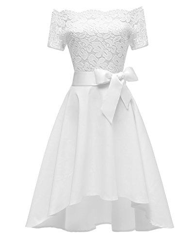 Laorchid Vintage Damen Kleid Spitzenkleid Off Schulter Cocktail Knielang A-Linie Weiß L