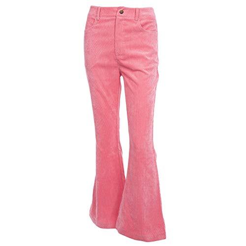 Guiran Damen Cordhose Bootcut Freizeithose Lange Hosen Pink L