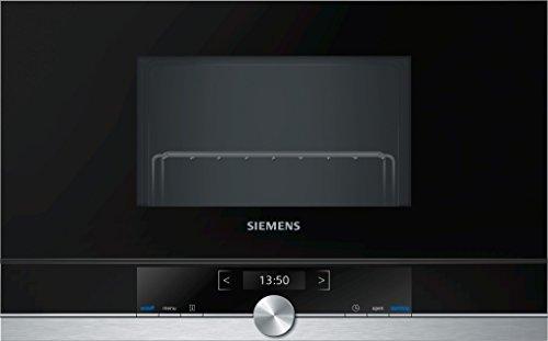Siemens BE634LGS1 iQ700 - Microondas integrable / encastre sin marco con grill, 21 L, 900 W / 1300 W, color negro con acero inoxidable