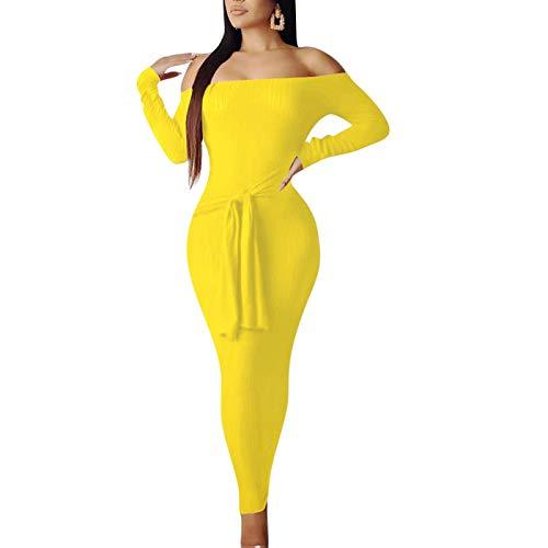 IyMoo Women's Sexy Off Shoulder Long Sleeve Bodycon Rib Knit Sweater Maxi Dress Yellow M