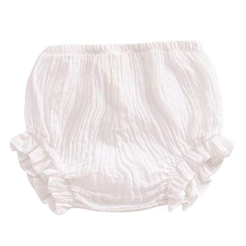 LOOLY Newborn Toddler Kids Cotton Linen Ruffle Bloomer Shorts Diaper Cover 0-2T(70,A-White)