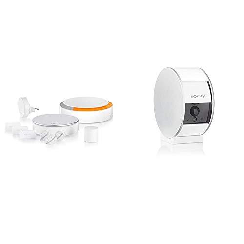 Somfy 1875230 - Home Alarm Plus | Alarme Maison sans Fil connectée avec sirène extérieure & 2401507 - Indoor Camera | Volet Motorisé | Détecteur de Mouvement & Vision Nocturne | Haut-Parleur