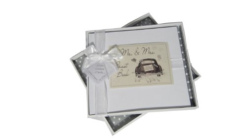 White Cotton Cards Mr and Mrs Wedding Livre d'or Motif voiture